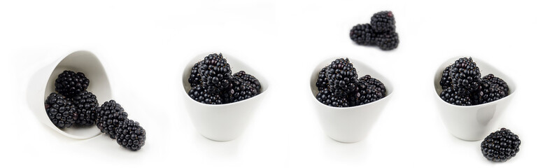 collection of blackberries in white ceramic bowls on white background isolated