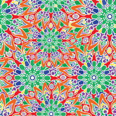 Seamless colorful pattern. Oriental style. Fabric or wallpaper texture. Ethnic Mandala forms. Islam, Arabic, Indian motifs. Abstract Tribal vector. Floral background. Creative elements. Bright surface