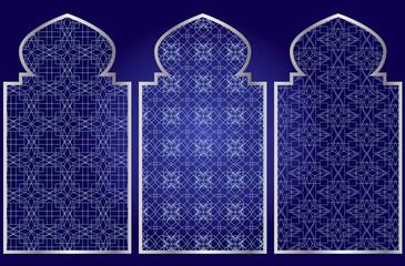Arabic oriental islamic style geometric pattern windows. Graphic elements vector.