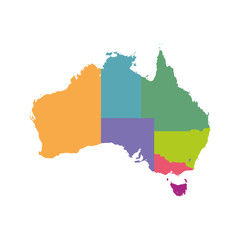 Australia map color with regions. Vector flat