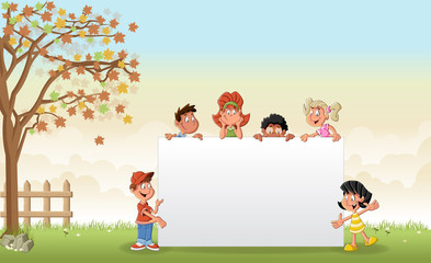 Green grass landscape with cartoon children in front of white board.