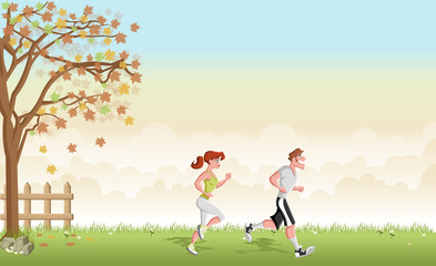 Green grass landscape with cartoon couple jogging. Running in the park.