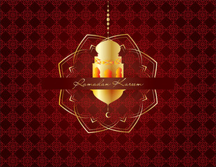 Ramadan kareem - muslim islamic holiday celebration greeting card or wallpaper with golden arabic ornaments, calligraphy, crescent with a star and eid lantern (lamp)