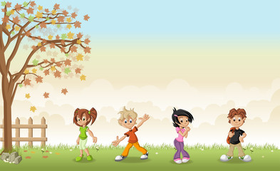 Green grass landscape with cute cartoon teenagers.