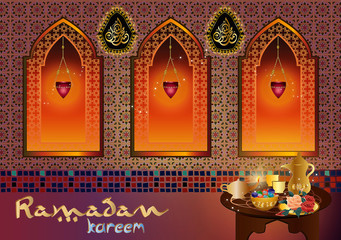 Ramadan kareem - muslim islamic holiday celebration greeting card or wallpaper background, with oriental or arabic house indoor, arabic windows, eid lanterns and table with sweets