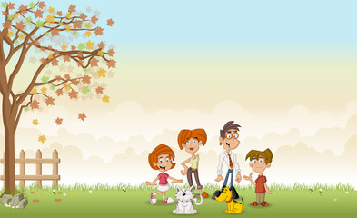 Green grass landscape with cute cartoon family with pets.