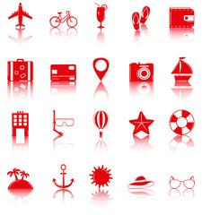 Summer flat icons set. Summer holidays. Vector