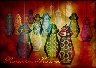 Ramadan Kareem - islamic muslim holiday background or greeting card, with ornamental arabic oriental background and calligraphy, and eid holiday lanterns or fanous lamps, abstract artistic vintage
