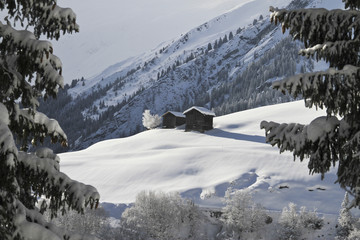 Two winter chalets by the mountain