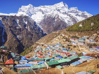 Namche Bazaar village on the way to Everest Base Camp in the Khumbu Region of Nepal.