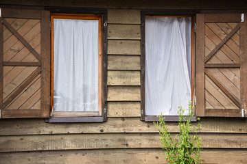 Wood window and white curtain