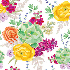 Bouquet with succulent on the white background. Vector seamless pattern with colorful flowers. Rose, lilac, ranunculus, lavender, gillyflower. Pastel yellow, orange, purple, green, mint colors.