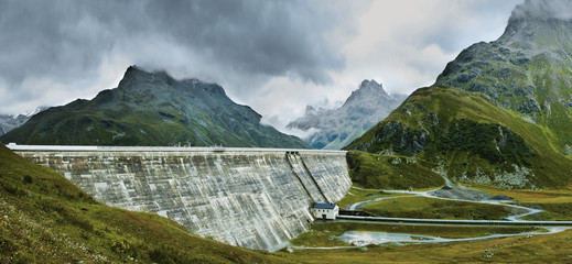 A dam amongst the mountains of Tirol, Austria