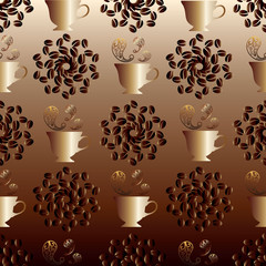 Seamless pattern with Arabic,Turkish,Persian, Moroccan coffee.Gold cup with coffee.Instead of steam over a cup are gold oriental pattern elements..Around a cup are patterns of coffee beans.