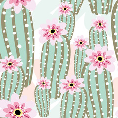 Cactus with pink flowers on the light background. Vector seamless pattern with cacti.