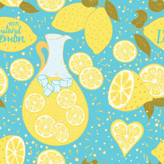 Lemonade seamless pattern with hand drawn abstract citrus fresh fruits.