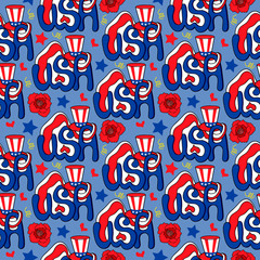 seamless pattern, hats drawing, star, american flag, vector background, decorative rose