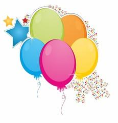 Obraz Kolorowe balony konfetti gwiazdki - fototapety do salonu