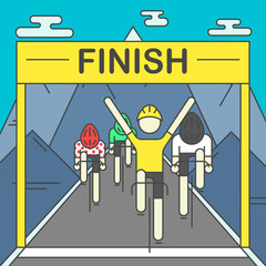 Modern Illustration of cyclists on finish line