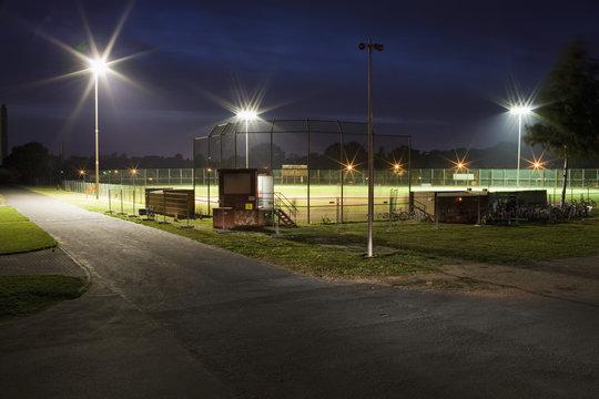 A baseball field at night, long exposure