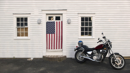 Motorcycle and American flag