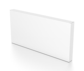 White wide thin horizontal rectangle box from top side angle.