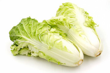 Chinese cabbage on a white background.
