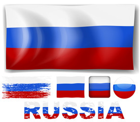 Russia flag in different designs
