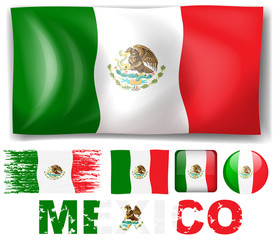 Mexico flag in different design