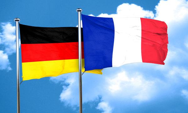 German flag with France flag, 3D rendering