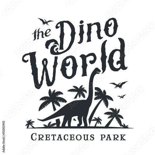 Dino world logo template dinosaur park logotype diplodoc t shirt vector design jurassic - Telecharger jurassic park 4 ...