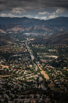 Aerial View of Ventura County, Thousand Oaks, Simi Valley, and Oak Park from Simi Peak