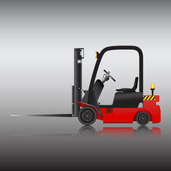 Logistics and delivery by forklift, Vector image.