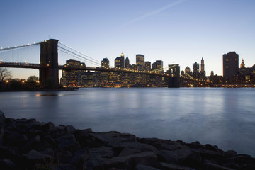 The Brooklyn Bridge and Manhattan at sunset, New York City