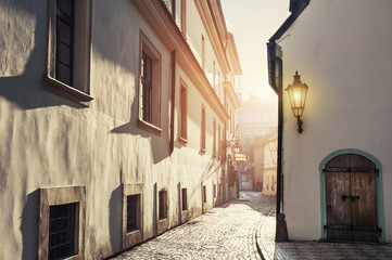Early morning in an old street.