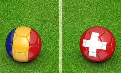 Team balls for Romania vs Switzerland football tournament match, 3D rendering