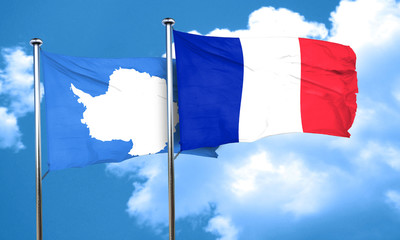 antarctica flag with France flag, 3D rendering