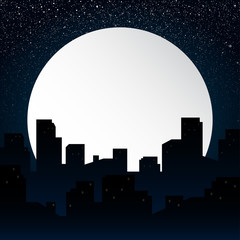 Moon. Background silhouette of the city at night.