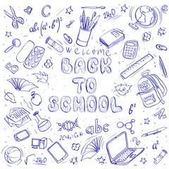 back to school doodles. vector set