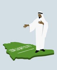 stereotypical saudi arabian man standing on the saudi arabian flag in the shape of saudi arabia