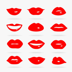 Set of Vector Symbols Lips