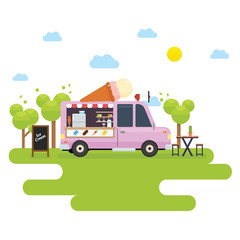 Food truck selling ice cream in the park