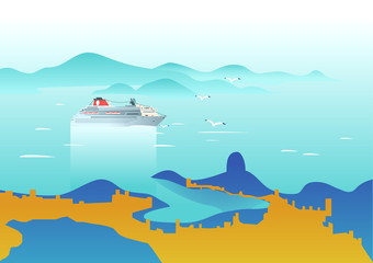 Cruise ship in the sea. Seascape view. Vector illustration on art deco style.