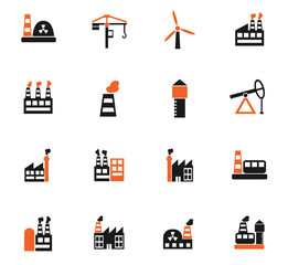 industrial building icon set