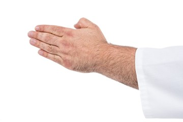 Close-up of karate fighter making hand gesture