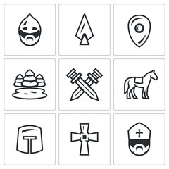 Vector Set of Ice Battle Icons. Warrior, Spear, Shield, Lake, Forest, Crossed, Swords, Knight, Crusader, Cross, Priest.