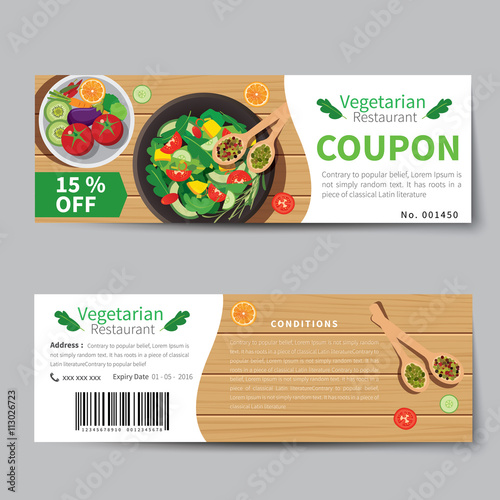 vegetarian food coupon discount template flat design stock image and royalty free vector files. Black Bedroom Furniture Sets. Home Design Ideas