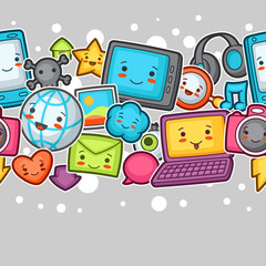 Kawaii gadgets social network seamless pattern. Doodles with pretty facial expression. Illustration of phone, tablet, globe, camera, laptop, headphones and other