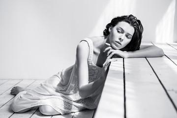 Shooting in studio with beautiful model