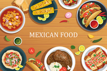 Mexican food on a wooden background.Vector mexican food top view